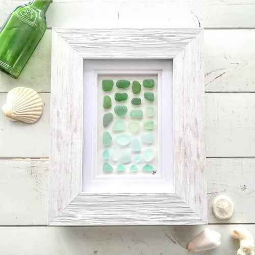 Seafoam Ombré - Sea Glass Art - 9x7 White Frame