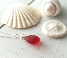 Load image into Gallery viewer, Orange Cherry (Amberina) - Sea Glass Necklace