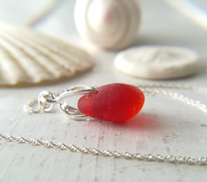 Orange Cherry (Amberina) - Sea Glass Necklace