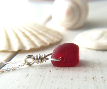 Load image into Gallery viewer, Dark Cherry Red - Sea Glass Necklace