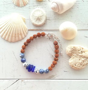 Cobalt Sea Mala - Sea Glass Bracelet