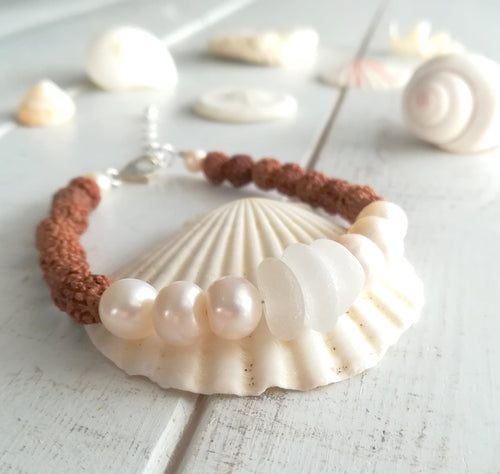 Pearl Sea Mala - Sea Glass Bracelet