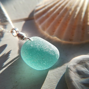 Teal Bubble - Sea Glass Necklace