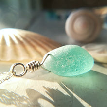Load image into Gallery viewer, Teal Bubble - Sea Glass Necklace