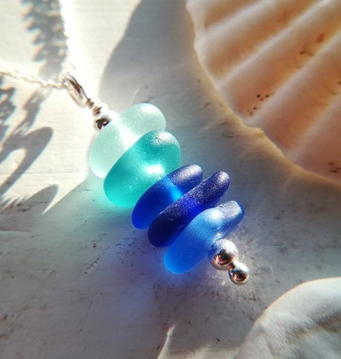Oceanic Ombré Stack - Sea Glass Necklace