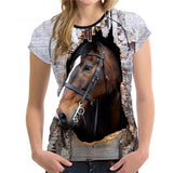 Super 3D Horse-design Women Summer Casual Tee