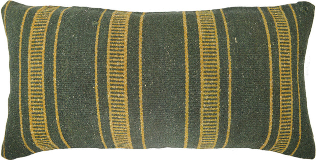 Green Vintage Kilim 12x24 Lumbar Pillow Cover