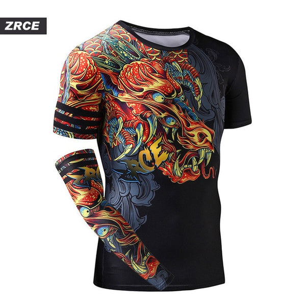 3D Printing Compression Shirts Chinese Dragon With Single sleeve EXCELLENT QUALITY SHIPS FROM CHINA PLEASE ALLOW 4 TO 5 WEEKS FOR DELIVERY