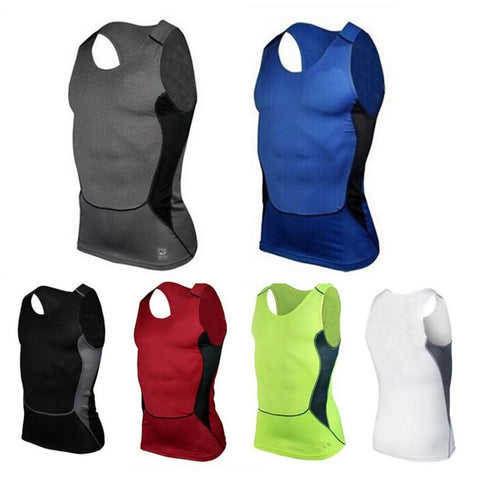 BE CERTAIN TO SELECT SHIP FROM USA EST. DELIVERY 14 TO 21 DAYS Men's Quick Dry Fitness Base Layer Top Compression Sleeveless Breathable Shirts