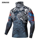 High Collar With Mask  Men Casual 3D T shirt Fitness Compression Tops EXCELLENT QUALITY SHIPS FROM CHINA PLEASE ALLOW 4 TO 5 WEEKS FOR DELIVERY