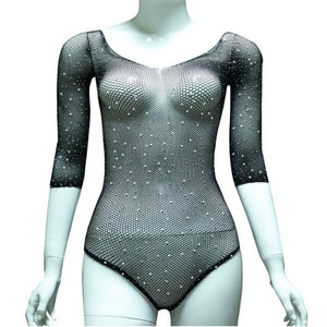 Sexy Women Long Sleeve See Through Fishnet Rhinestone Bodysuit Leotard Top EXCELLENT QUALITY FREE SHIPPING SHIPS FROM CHINA ALLOW 4 TO 5 WEEKS FOR DELIVERY