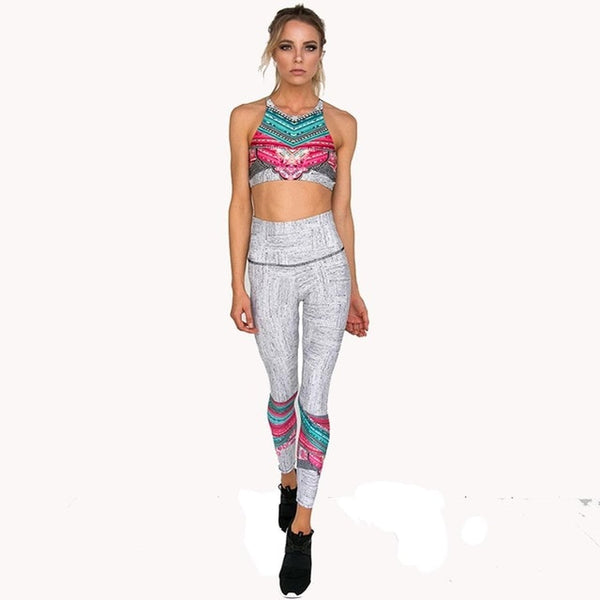 2 Piece Yoga Set Floral Print Women Bra + Long Pants Sportswear BE CERTAIN TO SELECT SHIP FROM UNITED STATES SHIPS VIA USPS 4 TO 13 DAYS FOR DELIVERY