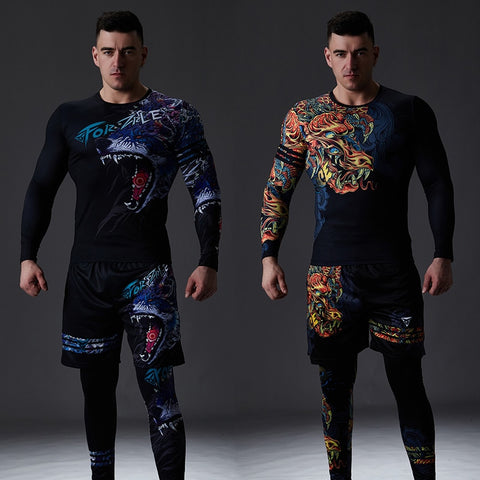 Chinese Style Men's Tracksuit Gym Fitness Compression Sports Workout Set EXCELLENT QUALITY SHIPS FROM CHINA PLEASE ALLOW 4 TO 5 WEEKS FOR DELIVERY
