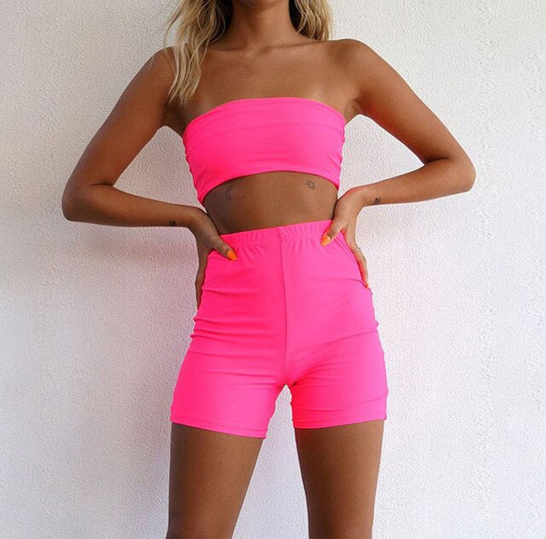 Crop Top Short Pants 2 Piece Gym Fitness Yoga Running Exercise Clothes EXCELLENT QUALITY FREE SHIPPING SHIPS FROM CHINA ALOW 4 TO 5 WEEKS FOR DELIVERY