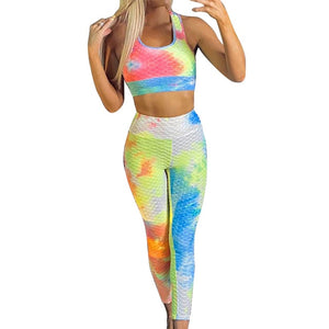 Workout Leggings Set Tie-dye Anti Cellulite Fold Elastic High Waist Legging and Sports Bra EXCELLENT QUALITY FREE SHIPPING SHIPS FROM CHINA PLEASE ALLOW 4 TO 5 WEEKS FOR DELIVERY