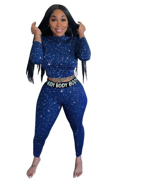 Echoine Sports Star Body Letter Two Piece Set Women Crop Top Long Pencil Pants Suit Active Wear Ladies Tracksuit EXCELLENT QUALITY FREE SHIPPING BE CERTAIN TO SELECT SHIPS FROM UNITED STATES SHIPS VIA USPS 4 TO 13 DAYS FOR DELIVERY