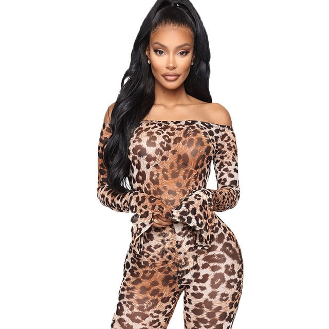 Tight Leopard Printed Two Piece Set Slash Neck Long Sleeve One-Piece Bodysuit EXCELLENT QUALITY FREE SHIPPING BE CERTAIN TO SELECT SHIP FROM UNITED STATES SHIPS VIA USPS 4 TO 13 DAYS FOR DELIVERY