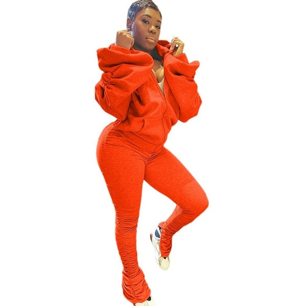 Echoine Women Pleated Split Long Pants Suits Puff Sleeve Backless Hooded Sports Casual 2 Piece Set Jogger Tracksuit Matching Set FREE SHIPPING BE CERTAIN TO SELECT SHIP FROM UNITED STATES SHIPS VIA USPS 4 TO 13 DAYS FOR DELIVERY