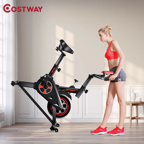 LCD Display Indoor Cycling Gym Cardio Trainer Fitness Exercise Bike Adjustable Resistance Heavy Duty Metal Bracket Bike FREE SHIPPING SHIPS UPS DELIVERY 5 TO 7 DAYS