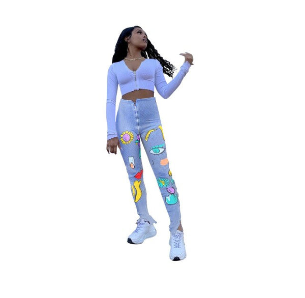 Echoine Women Pants Positioning Tie-Dye Printed Tight Elastic Stripe Zipper High Waist Split Micro-Bell-bottom Jogger Sweatpants EXCELLENT QUALITY FREE SHIPPING BE CERTAIN TO SELECT SHIP FROM UNITED STATES SHIPS VIA USPS 4 TO 13 DAYS FOR DELIVERY