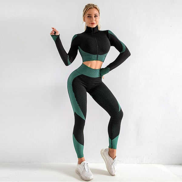 Womens Gym Set 3pcs Leggings Set Long Shirt With Zipper Exercise Bra EXCELLENT QUALITY SHIPS FROM CHINA PLEASE ALLOW 4 TO 5 WEEKS FOR DELIVERY