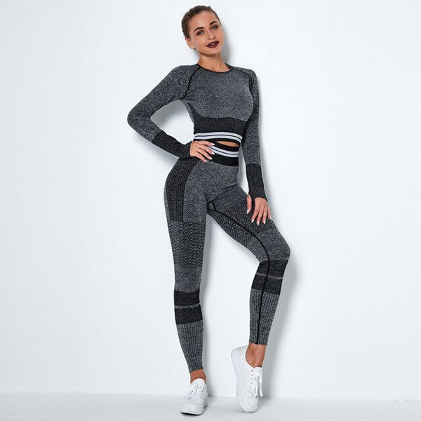 Sports Yoga Suit 2 Piece Set Quick Dry Striped EXCELLENT QUALITY SHIPS FROM CHINA PLEASE ALLOW 4 TO 5 WEEKS FOR DELIVERY