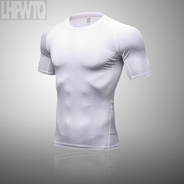 High quality spandex Men Running T Shirt Quick Dry Fitness Compression Shirt Training exercise Clothes Gym Sports Shirts Tops