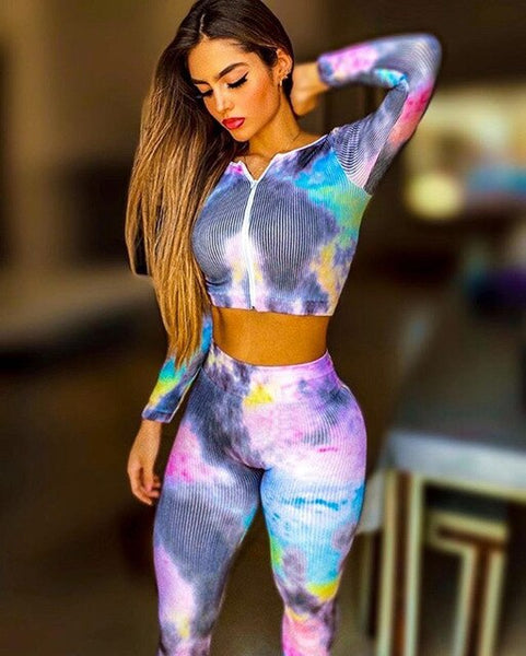 Women's Sports Suit Striped  Crew Neck Tie Dye Blouse Zipper Stretch Fit Pants yoga exercise Clothes EXCELLENT QUALITY FREE SHIPPING SHIPS FROM CHINA ALLOW 4 TO 5 WEEKS FOR DELIVERY