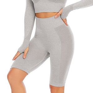 Yoga Set Crop Top Long Sleeve Shorts High Waist Gym Wear EXCELLENT QUALITY FREE SHIPPING SHIPS FROM CHINA ALLOW 4 TO 5 WEEKS FOR DELIVERY