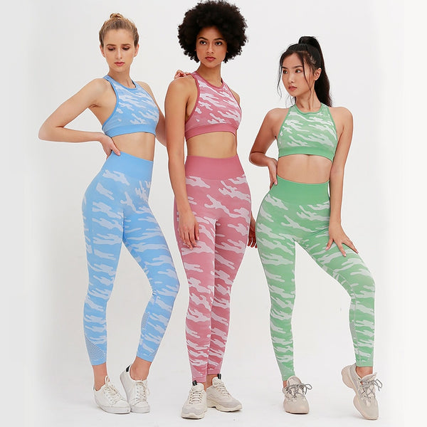 New Camouflage High Waist Shaping Hip Lift Seamless Fitness Yoga Sets EXCELLENT QUALITY FREE SHIPPING SHIPS FROM CHINA ALLOW 4 TO 5 WEEKS FOR DELIVERY