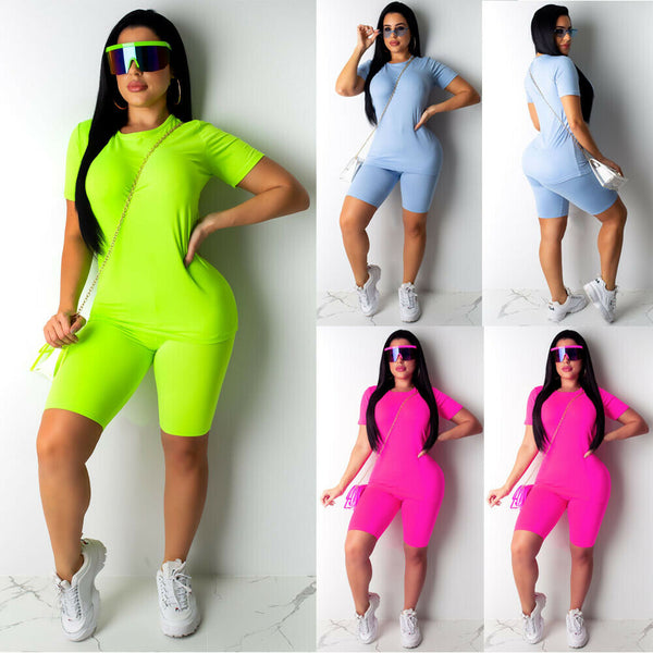 Women Sports Suit Neon Top Short Pants Workout  Casual Outfit 2PCS/Set EXCELLENT QUALITY FREE SHIPPING SHIPS FROM CHINA ALLOW 4 TO 5 WEEKS FOR DELIVERY