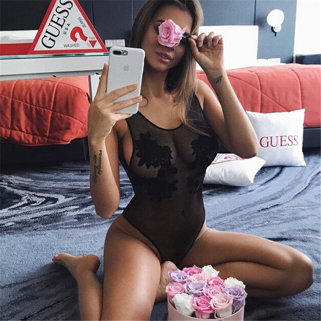 Women One-Piece Swimsuit Sexy Black Mesh Beachwear Floral Swimwear Push-up  Bathing Suit EXCELLENT QUALITY FREE SHIPPING SHIPS FROM CHINA ALLOW 4 TO 5 WEEKS FOR DELIVERY