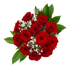 Load image into Gallery viewer, One Dozen Red Rose Gyp & Green