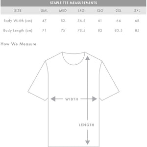 AS Colour Staple Tee Size Guide Measurements