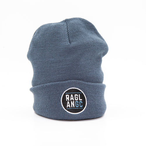 Raglan Garden Club AS Colour Cuff Beanie in steel blue with Raglan GC 2020 logo