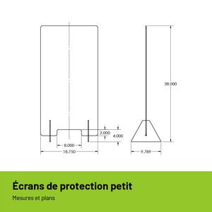 Écran de protection autoportant en polycarbonate petit