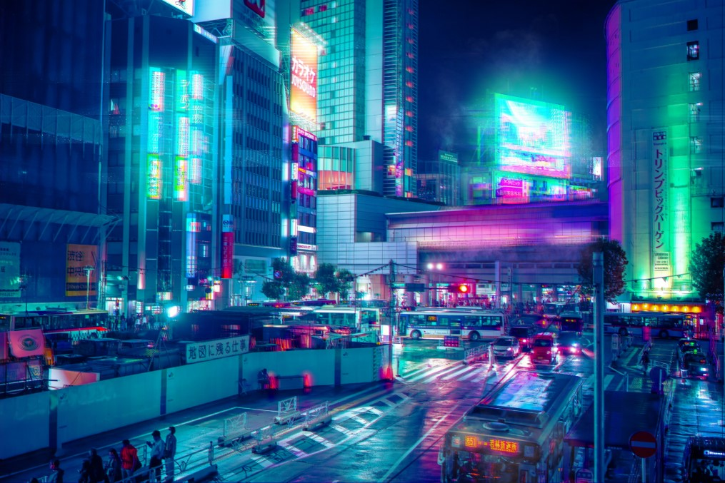 LED Canvas: AGK42- Neon City (Sold Out)