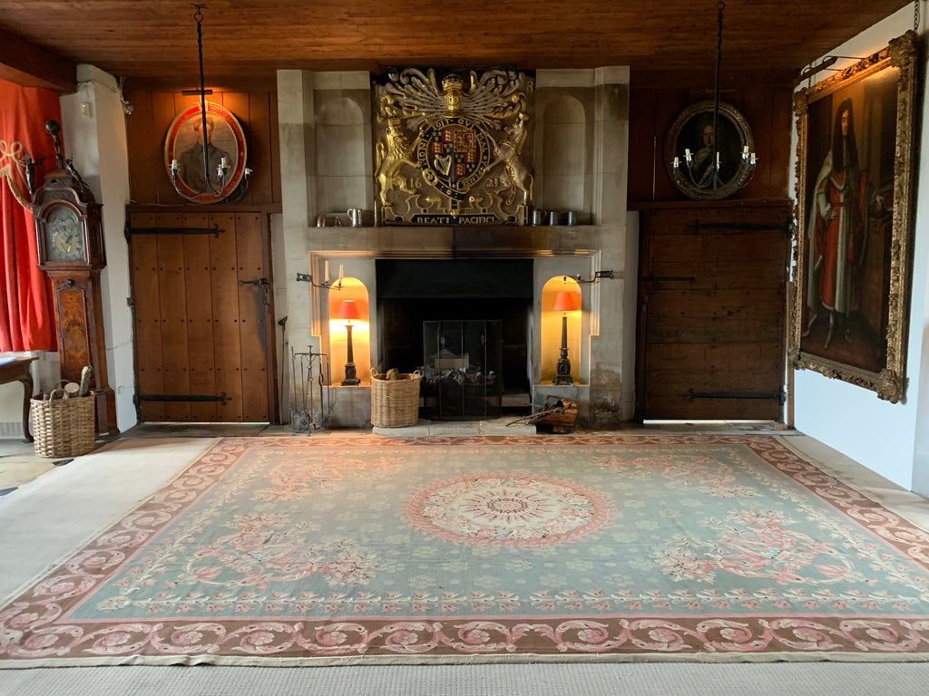 Portuguese vintage Arraiolos needlework carpet in the civil ceremony hall at Hilles House, Gloucestershire - this project called for something suiting the dignified ambience