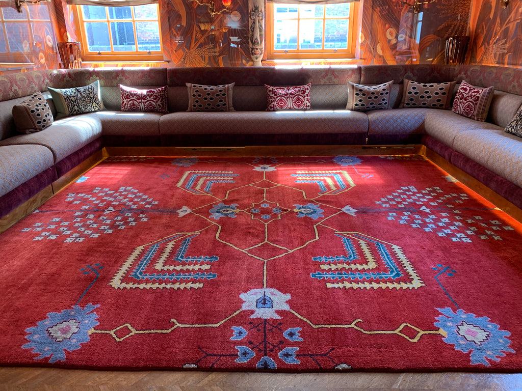 One of our bespoke Turkish carpets, taking bold inspiration from a Donegal carpet (Mayfair, London)