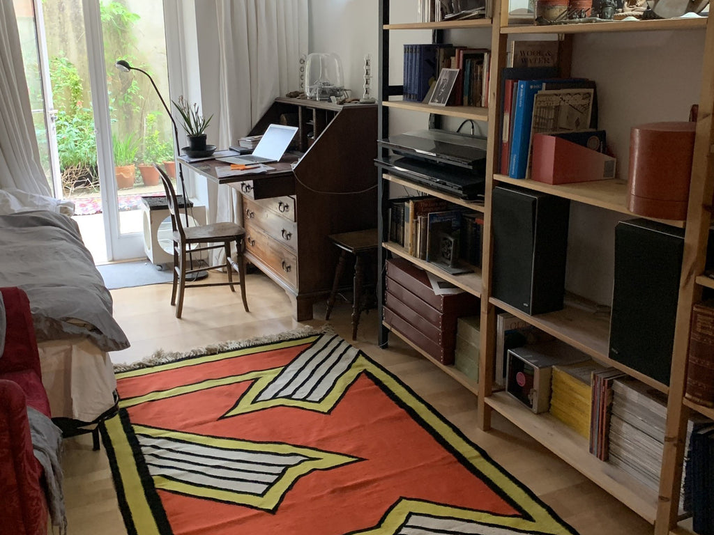 Studio project in Gloucestershire with Nicholas Krushenick tapestry, circa 1970 (New York)