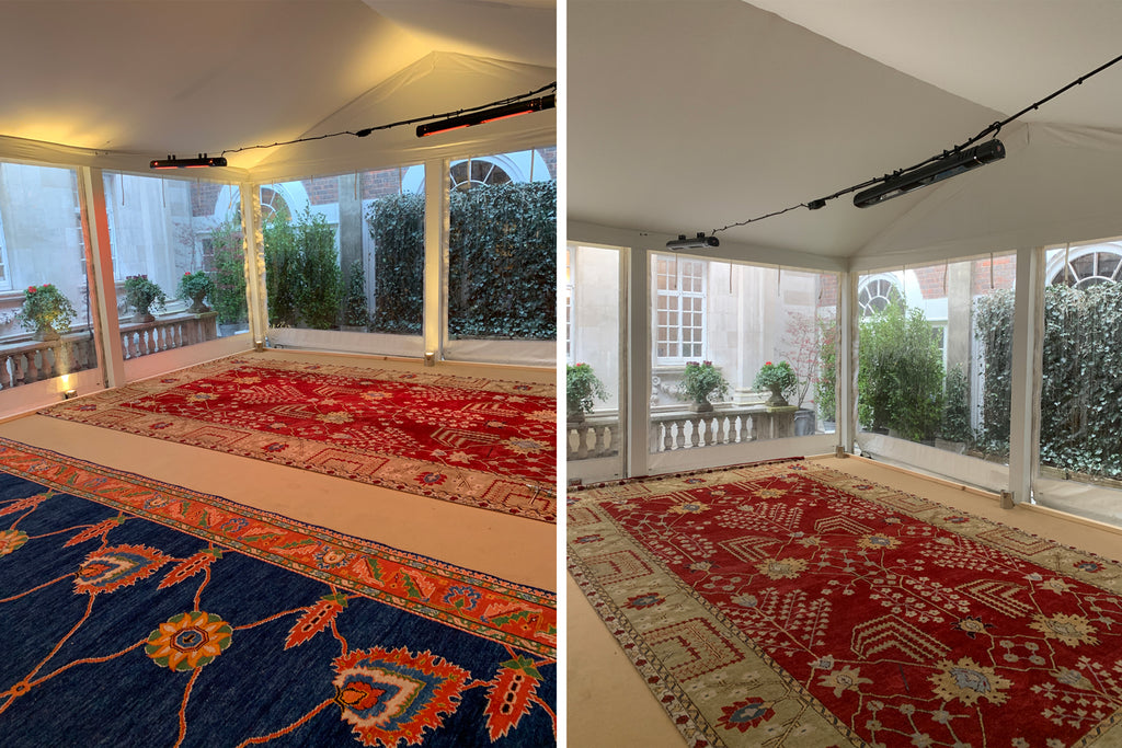 Installing rugs at West End Pop Up | Clive Rogers Orient Rug