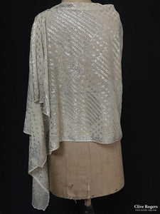 Egyptian Assuit Silvered Metal Wrapped Shawl On Gauze Shawl