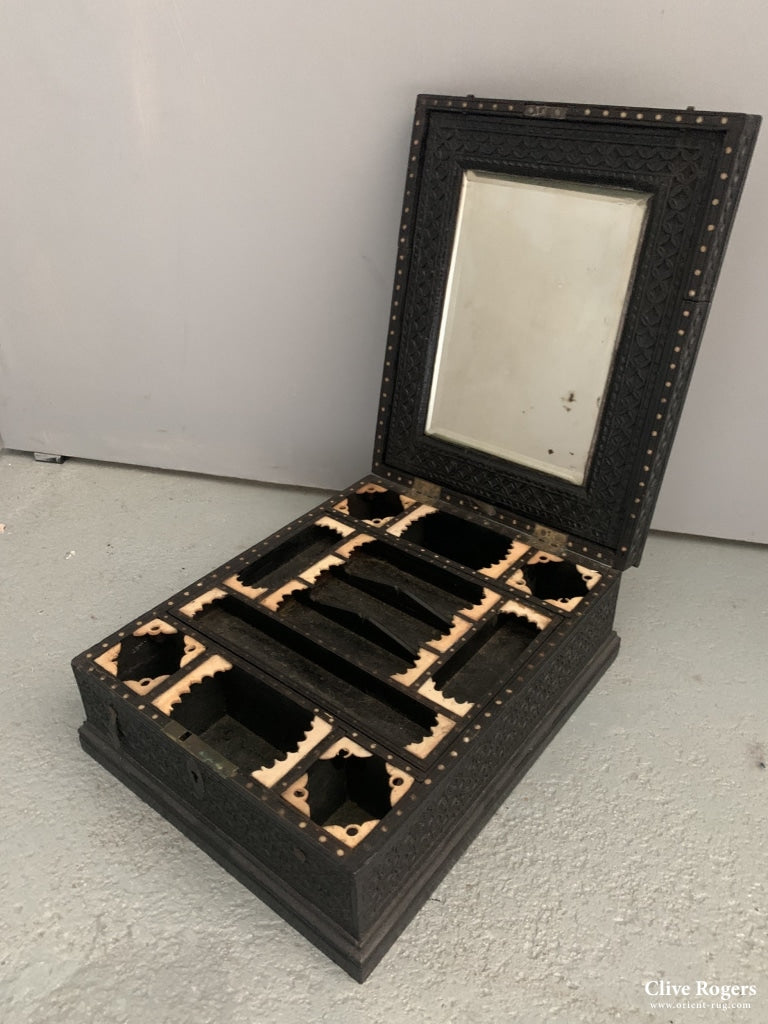 Indian Nagina Ebony And Bone Vanity Case Initialed In Silver Tscf Late 19Th Cent Case