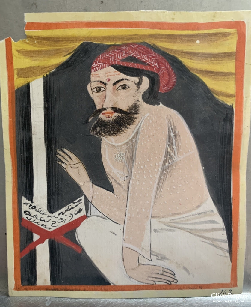 Small Gouache Painting Of A Hindu Fakir Wearing Diaphanous Vest And Dhoti Circa 1900 Painting