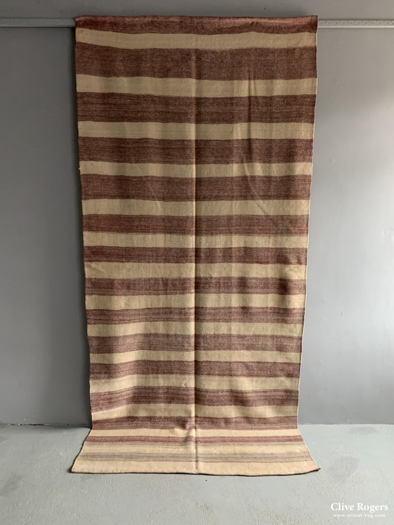 Turkish Pale Striped Flatweave Mid Cent Flatweave