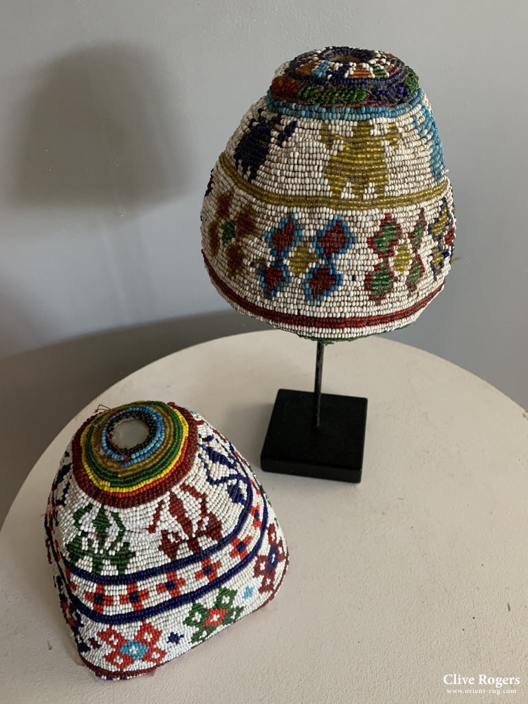 Two Afghan Patan Beaded Caps Possibly Kandahar (2) Mid 20Th Cent Hat