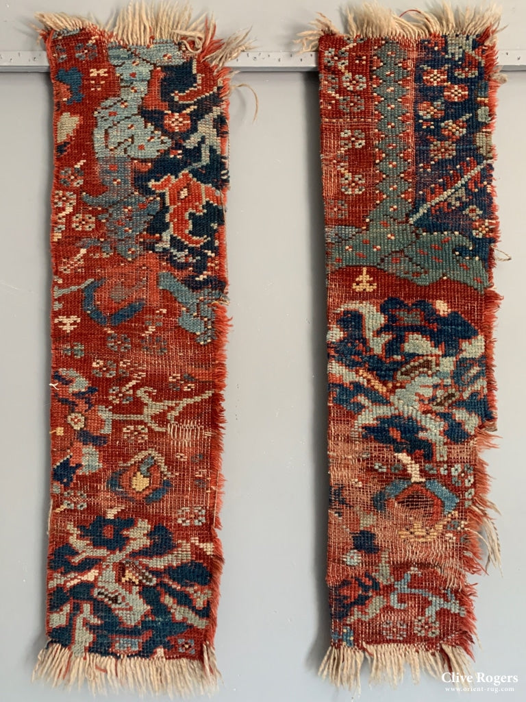 Two Fragments From A Turkish Smyrna Large Carpet (2) Late 18Th Cent Fragment