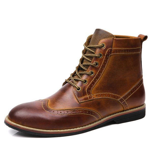 Men Warm Boots Vintage Brogue College Style Lace-up - Go Love Shoes