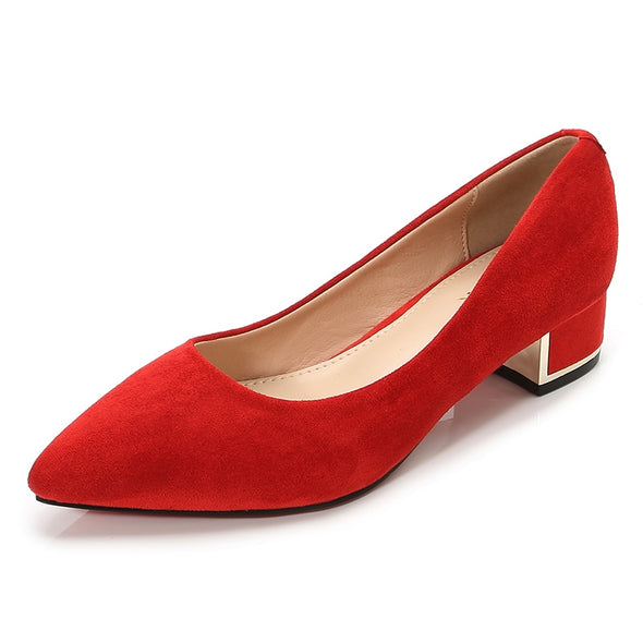 Woman Simple Girls Red Black Shoes Ladies Pointed Toe Med Heels - Go Love Shoes