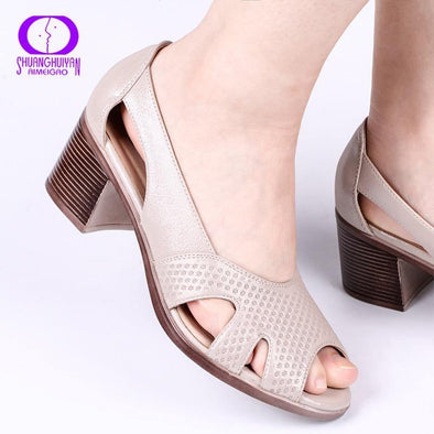 Summer Peep Toe Sandals Comfortable Thick Sandals Soft Leather - Go Love Shoes